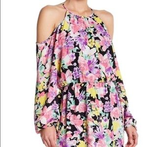 Pink Floral Cold Shoulder Long Sleeve Casual Dress